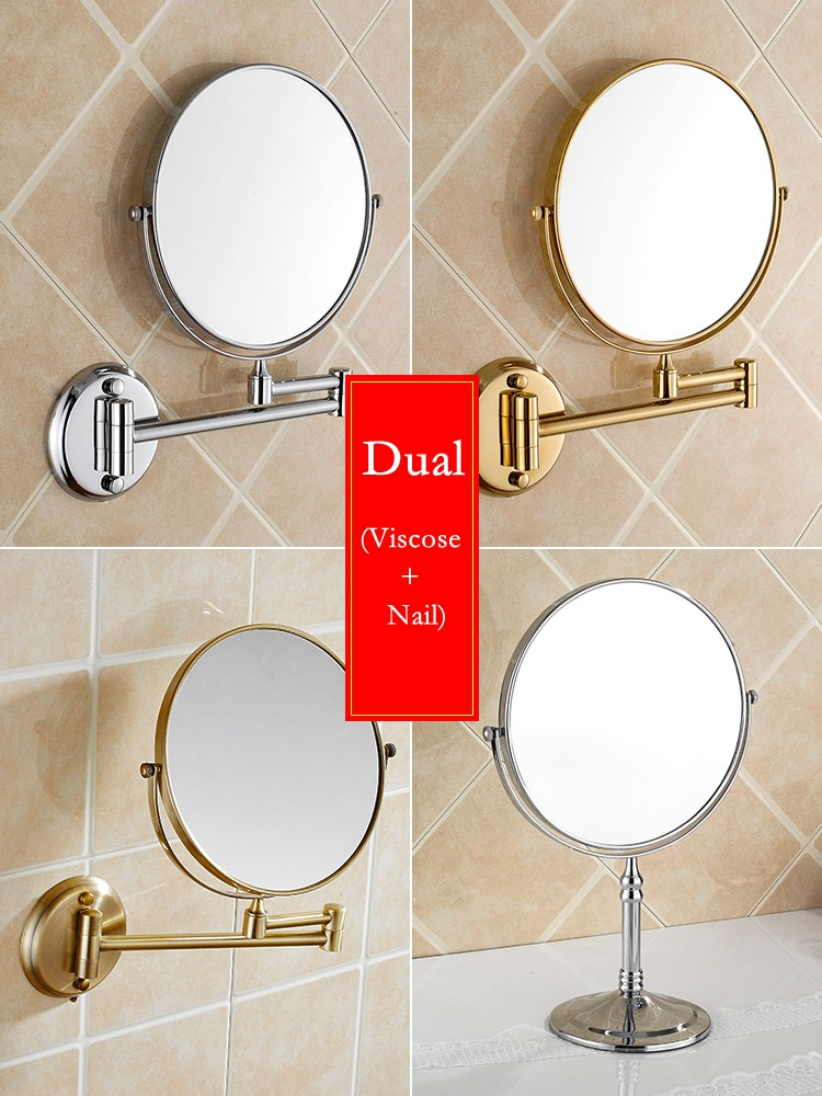 Houmaid Bathroom Fixture Shower Room Makeup Bath Mirror Cosmetology Copper Mirror Two sided Mirror For Holtel