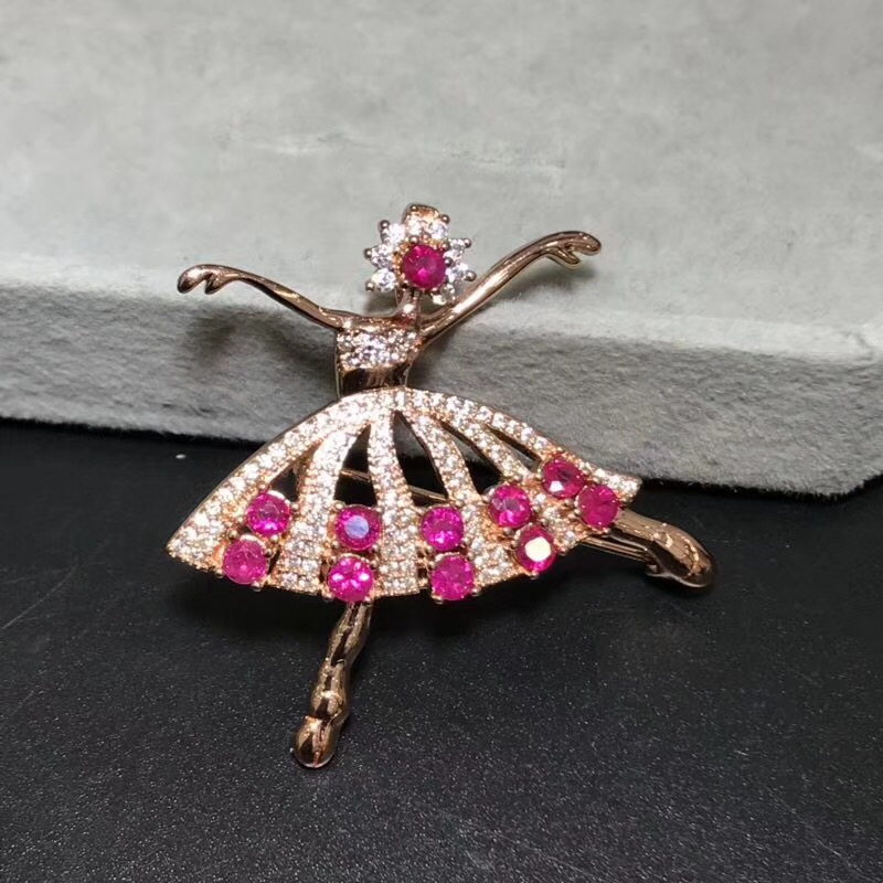 Dancing Girl Ruby brooch Free shipping Natural real Ruby 925 sterling silver brooch - 4