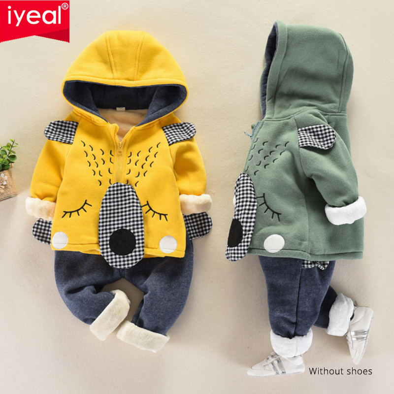 IYEAL Boys Clothing Sets Autumn Winter Kids Thick Warm Velvet Clothes Cartoon Sport Suit for Children Toddler Boys 1-5 Years toddler special offer new arrival full little boys fashion cute cotton robot cartoon warm clothing sets children sports suit