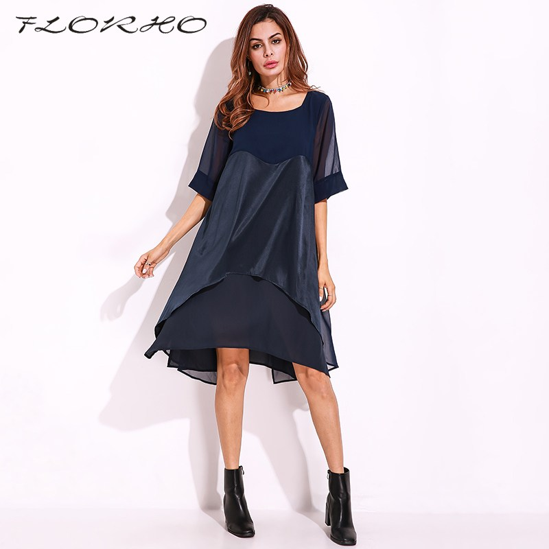 2018 Summer Dress Plus Size Women Dress Fashion A Line Patchwork