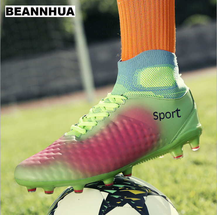 BEANNHUA Long nail men's high football shoes 36 45 new fluorescent green grey blue competition training shoes, wholesale retail-in Running Shoes from Sports & Entertainment    1