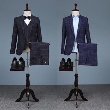 men lattice suits designs england homme terno stage costumes for singers men blazer clothes star style blue jacket + vest + pant
