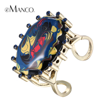 EManco Metal Cuff Bangles Enamel Rhinestone Alloy Opening Wide Bangle Bracelet Hand Painted Oval Resin Gold