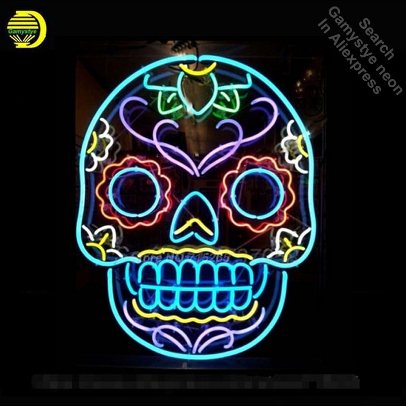 Tattoo Skull Neon Sign Skull Beer Pub Neon Bulbs Room Recreation Windows Neon Signs Real Glass Tube Handcraft Best Gift VD 24x20 image