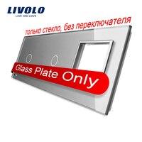 Free Shipping Livolo Grey Pearl Crystal Glass 223mm 80mm EU Standard 2Gang 1 Frame Glass Panel