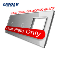 Free Shipping Livolo Grey Pearl Crystal Glass 223mm 80mm EU Standard 2Gang 1 Frame Glass Panel