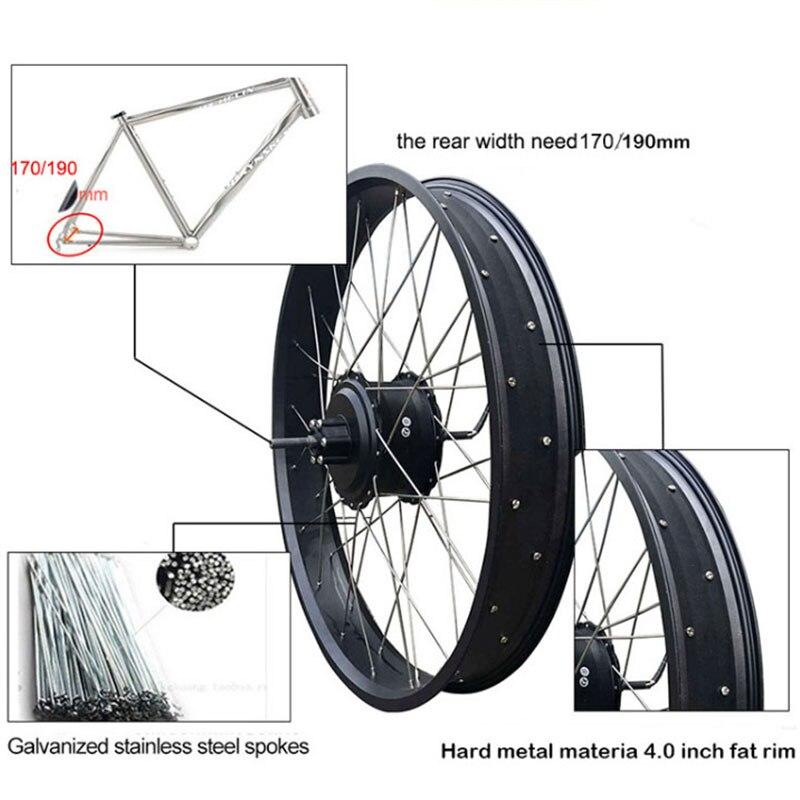 48 v 1000 w Fett Reifen Elektrische Bike Kit für 20