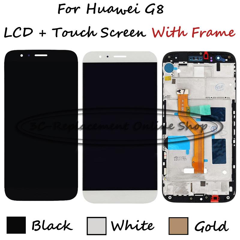 Prix pour Blanc/Noir/Or Pour Huawei G8 GX8 RIO-L01 RIO-L02 RIO-L03 LCD Display + Écran Tactile Digitizer Assemblée de Remplacement Avec Cadre