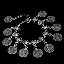SHUANGR Ethnic Thai Silver Color Retro Antique Coin Charm Bohemian Tassel Bracelets Vintage Jewelry For Women Bijoux Femme