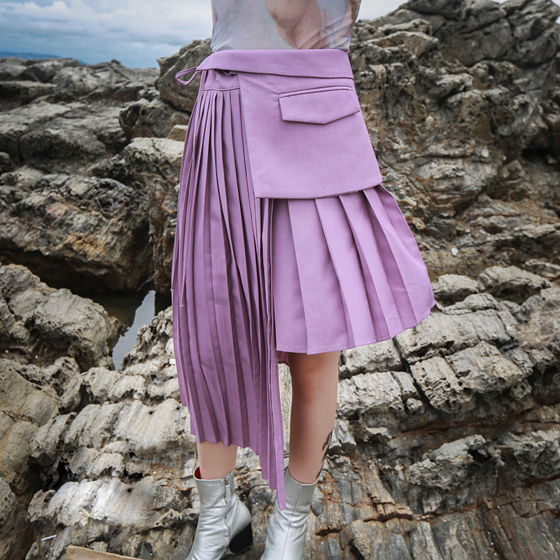 New Spring Summer Fashion Women Street Clothing Asymmetrical Pleated Skirts Black & Purple Pink Female Skirts Two Color