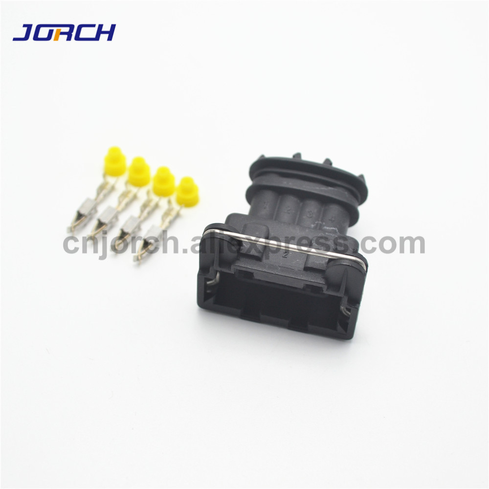 Free Shipping 10 Sets Tyco / Amp 3.5mm 4 Pin Female Electrical Automotive Plug Waterproof Wire Auto Connector 282192-1
