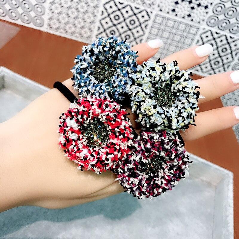 Czech Diamond Handmade Cloth Elastic Hair Bands Hair Accessories Hair Bows Rubber Band Hair Ring Headbands For Women in Women 39 s Hair Accessories from Apparel Accessories