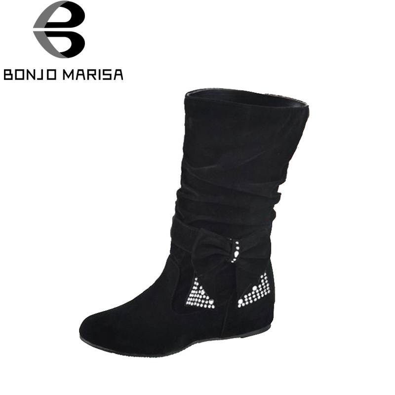BONJOMARISA Big Size Half Knee Snow Boots Women Rhinestone Bowtie Sexy Winter Shoes Hidden Wedge Heel Winter Shoes Boots HB144 tie up pompons hidden wedge snow boots
