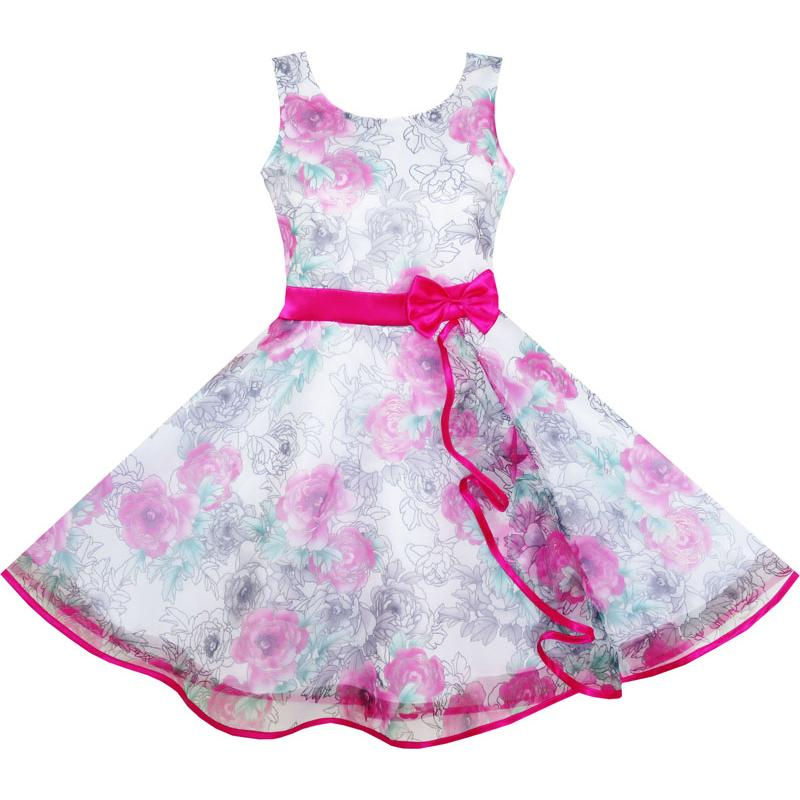Girls Dress 3 Layers Hand Drawing Peony Flower Pageant 2018 Summer Princess Wedding Party Dresses Kids Clothes Size 4-12 girls dress ruffles tulle tiered dress sequin party birthday princess 2016 summer wedding dresses kids clothes size 4 12 pageant