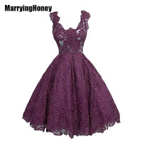 Sleeveless Lace Evening Dresses Plus Size Women Cocktail Short Wedding Party vestido de noche corto dorado robe de soiree court