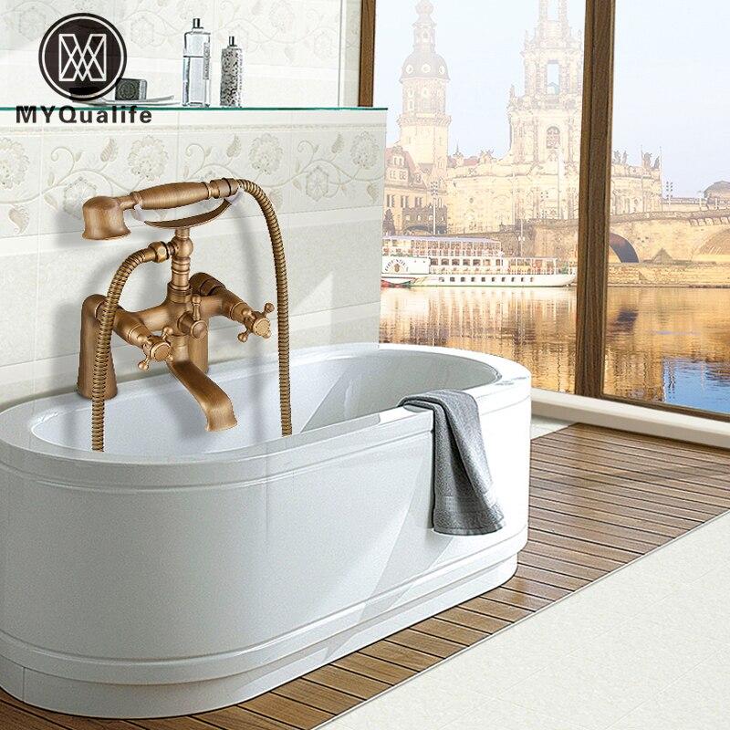 Deck Mount Bathtub Faucet Set Dual Handle with Hand Shower Tub Filler Swivel Tub Spout Antique Brass Finish deck mounted 5 pcs tub faucet brass chrome polish bathtub shower set swivel spout tap