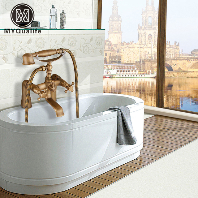Deck Mount Bathtub Faucet Set Dual Handle with Hand Shower Tub Filler Swivel Tub Spout Antique Brass Finish