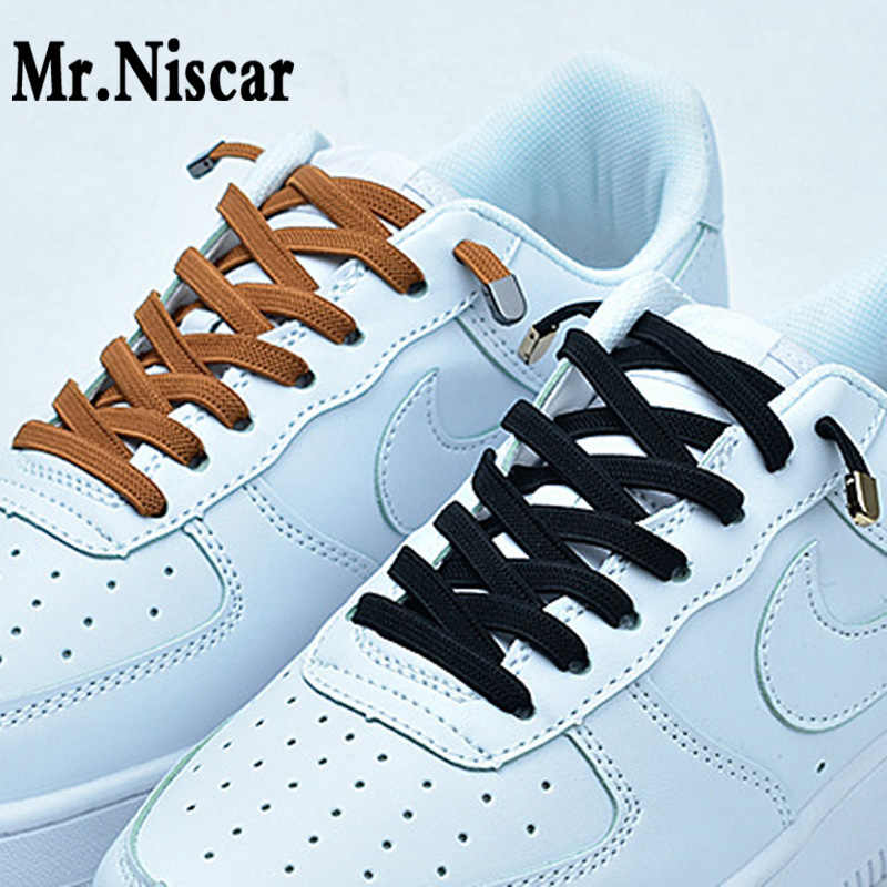 1 Pair High Quality No Tie Shoelaces Press Buckle Lazy Shoelaces for Kids Men Women Metal Locking Sport Shoe Laces Elastic