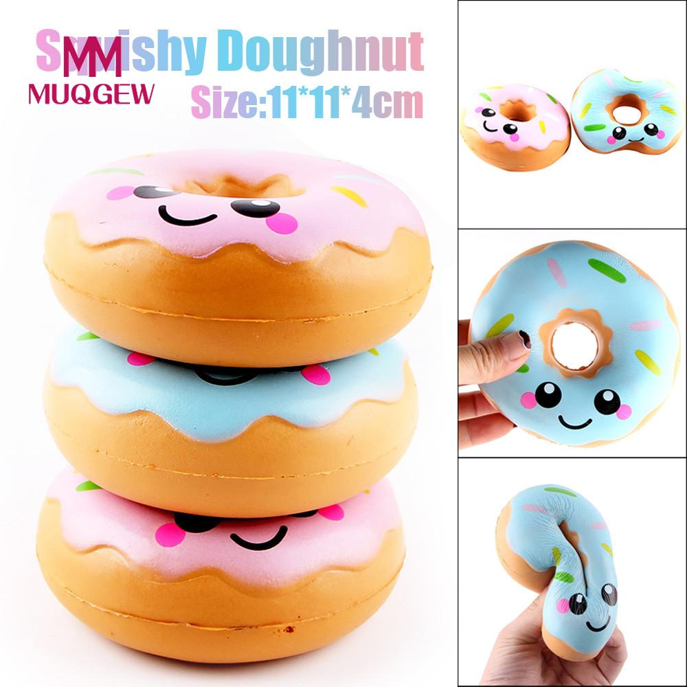 Muqgew 1 Piece Simulation Donuts Squishy Slow Rising Squeeze Toys Straps Cartoon Smile Face Random Squeeze Squishy Gift /py
