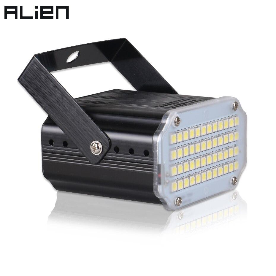 ALIEN 48 LED RGB UV beyaz Strobe ışıkları disko DJ parti tatil noel müzik kulübü ses aktif flaş sahne aydınlatma etkisi