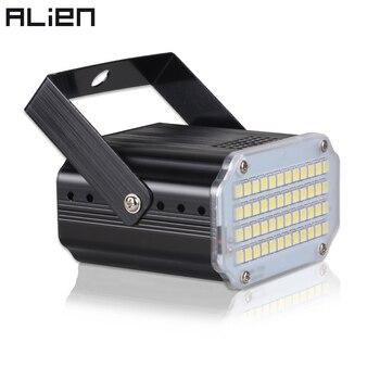 ALIEN 48 LED RGB UV luces estroboscópicas blancas Disco Fiesta de DJ vacaciones Navidad Club de Música sonido activado Flash efecto de iluminación de escenario