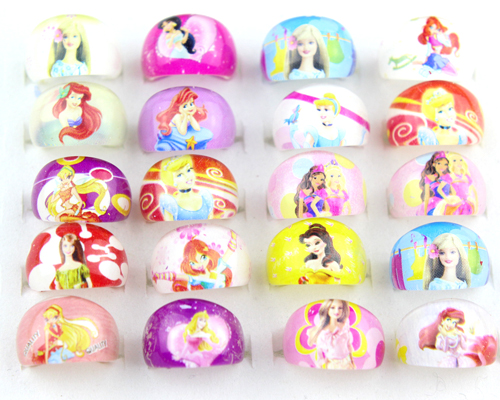 2017 New Arrival 50pcs Free Shipping Lovely Mix Resin Cartoon Girls Princess Children Rings Wholesale Jewelry