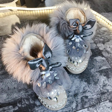 2018 Winter Cute Sprouting Rabbit Genuine Leather Short Boot Fox Fur Botin Plataforma Mujer Grey Elegant Women Ankle