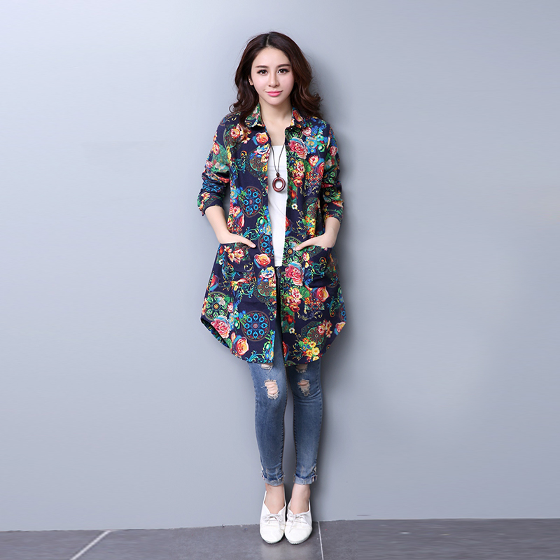 ef024d2fe412c 2018 Spring and autumn Fashion Style Cotton Women Blouses Top Medium Long  Shirts Fancy Pattern Long Sleeve Blouse Plus Size-in Blouses   Shirts from  Women s ...