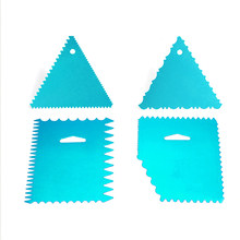 Aluminium Toothed Blade Butter Scraper Cake Fondant Decoration Set Cake Smoother Pastry Baking Tools Sugarcraft Scraper Cutter(China)