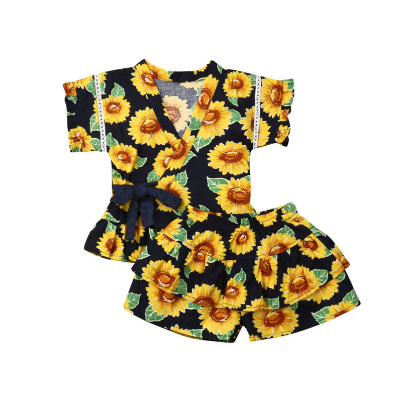 2019 Newborn Toddler Kid Baby Girl Clothes Floral Ruffle Tops Shorts Outfit 2PCS Summer Clothes 1-5T(China)