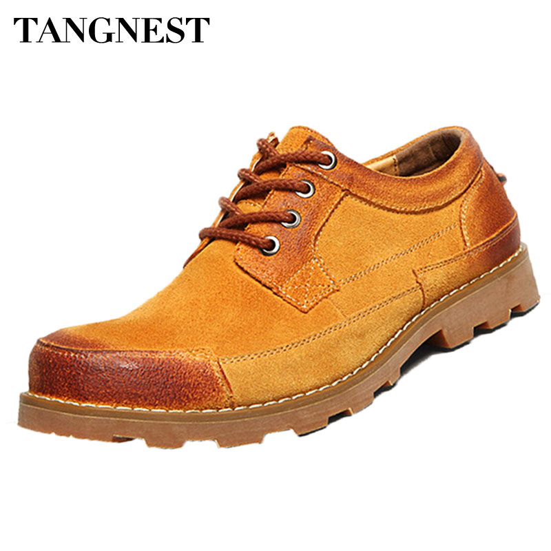 Tangnest Retro Men Work Boots Mixed Color Lace Up Men's Dress Shoes British Style Flock Leather Man Platform Shoes XMP695 2017 new autumn winter british retro men shoes zipper leather breathable sneaker fashion boots men casual shoes handmade