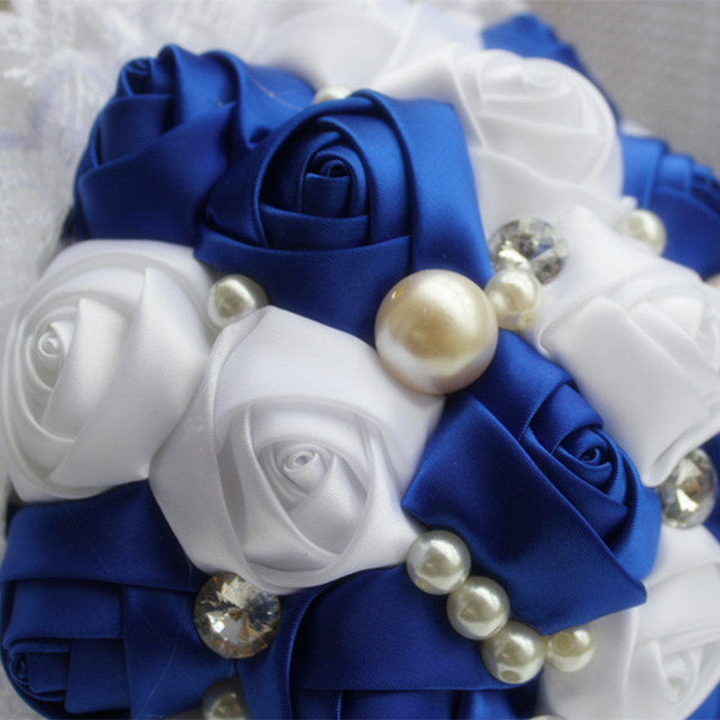 Royal Blue White Wedding Flowers Crystal Bridal Bouquets Lace Pearl Beaded Bride Bridesmaid Custom Color W239 5 In Artificial Dried