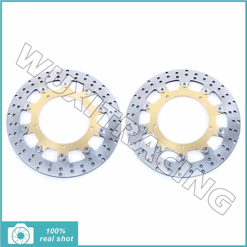 Front Brake Discs Rotors for YAMAHA YZF R6 03 04 FZ6 600 FAZER S2 04-08 XJ6 DIVERSION 09-15 MT03 660 06-11 MT09 850 ABS 14 15 16 mfs motor motorcycle part front rear brake discs rotor for yamaha yzf r6 2003 2004 2005 yzfr6 03 04 05 gold