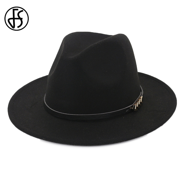b4bca250621 FS Unisex British Style Black Fedora Hat For Men Godfather Wide Brim Womens  Winter Church Hats Top Jazz Cap With Leather Ribbon