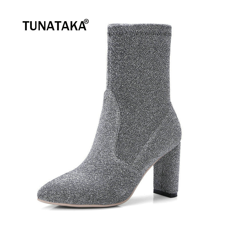 Fashion Square High Heel Woman Stretch Boots Pointed Toe Slip On Ladies Ankle Boots Black Silver