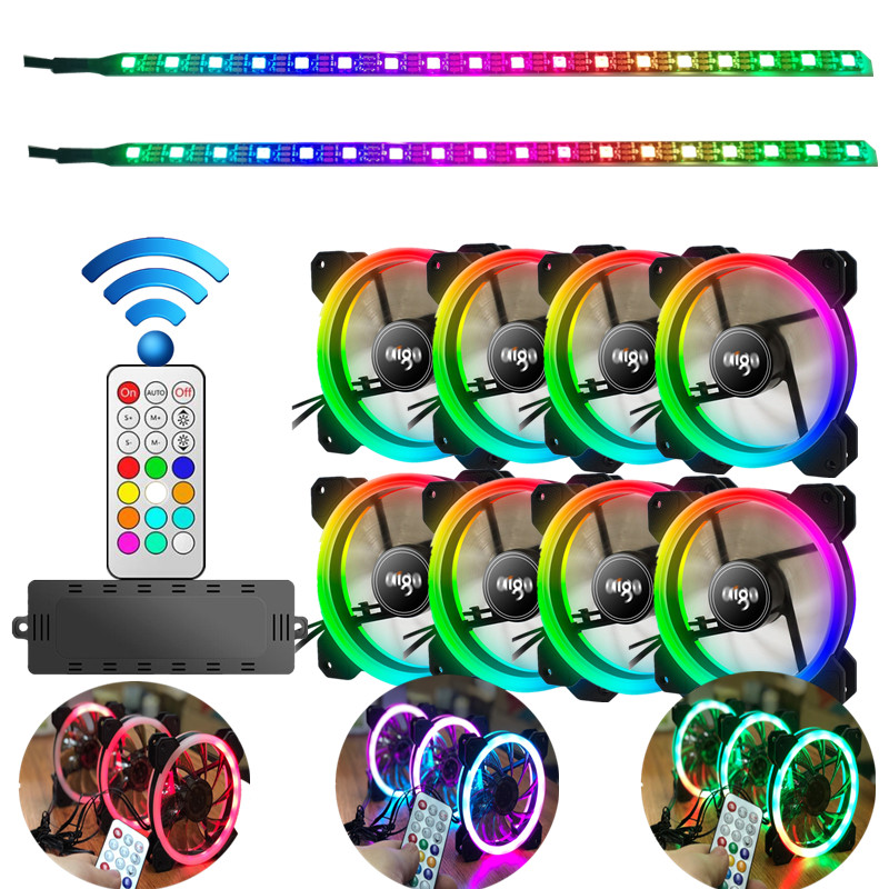 Aigo DR12 Double RGB Aura Pc Fan 12v 4 Pin 120mm Cooling Fan For Computer Silent Gaming Case Cooler Fan With Controller am3 am4 2 pcs gdstime 2 wire 2 pin connector 120x38mm 12v dc brushless cooling fan 120mm 12038 silent pc fan 120mm x 38mm