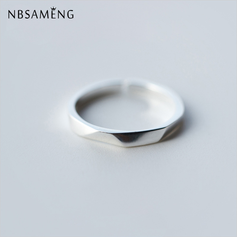 Nbsameng 100% 925 Sterling Silvr Glossy Rhombic Rings Opening Adjustable For Women Men Couples Wedding Ring Jewelry Ideal Gift For All Occasions