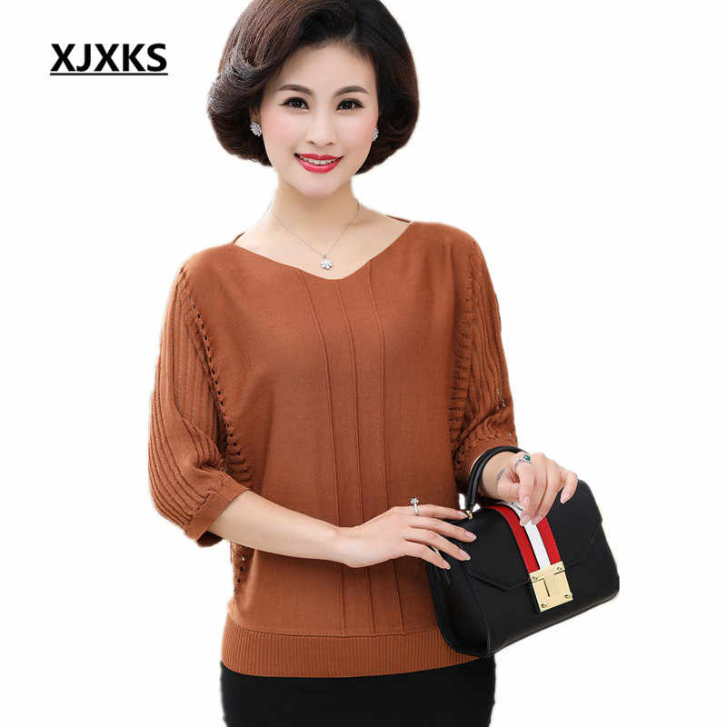 b38acee7a9f6 XJXKS 2018 New Women s Knitted Thin Three Quarter Sweater and Pullover  Loose Large Size Fashion V
