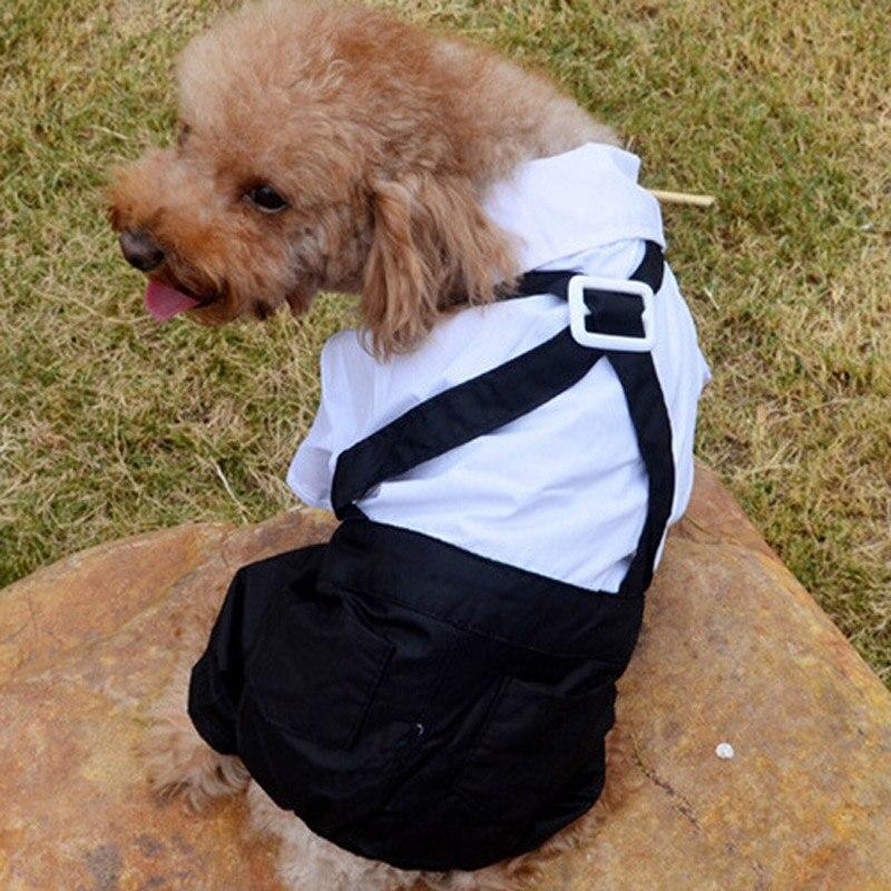Pet Clothes Puppy Dog Jumpsuit Suit Bow Tie Tuxedo Shirt Stylish Formal Wedding Apparel - S M L XL XXL - White Black 20A