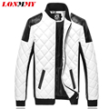 LONMMY 2016 winter jacket men jaqueta masculina Diamond lattice leather jackets cotton veste homme mens jackets and coats