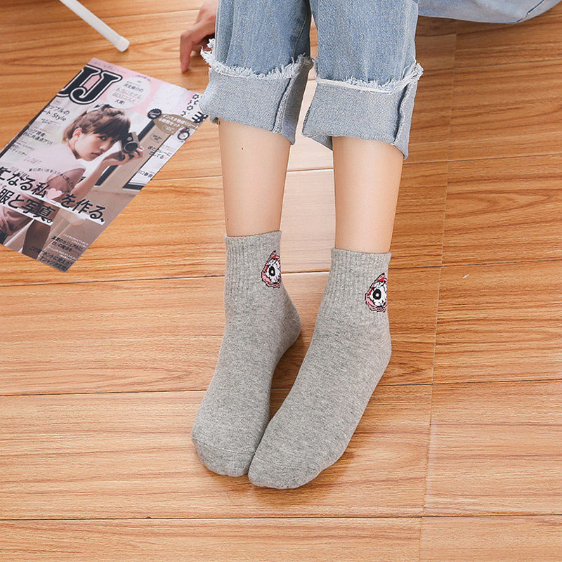 Women Cartoon Character Cotton Socks Art Female Character Patterend Short Cute Socks Hipster Fashion Animal Print Ankle Socks in Socks from Underwear Sleepwears