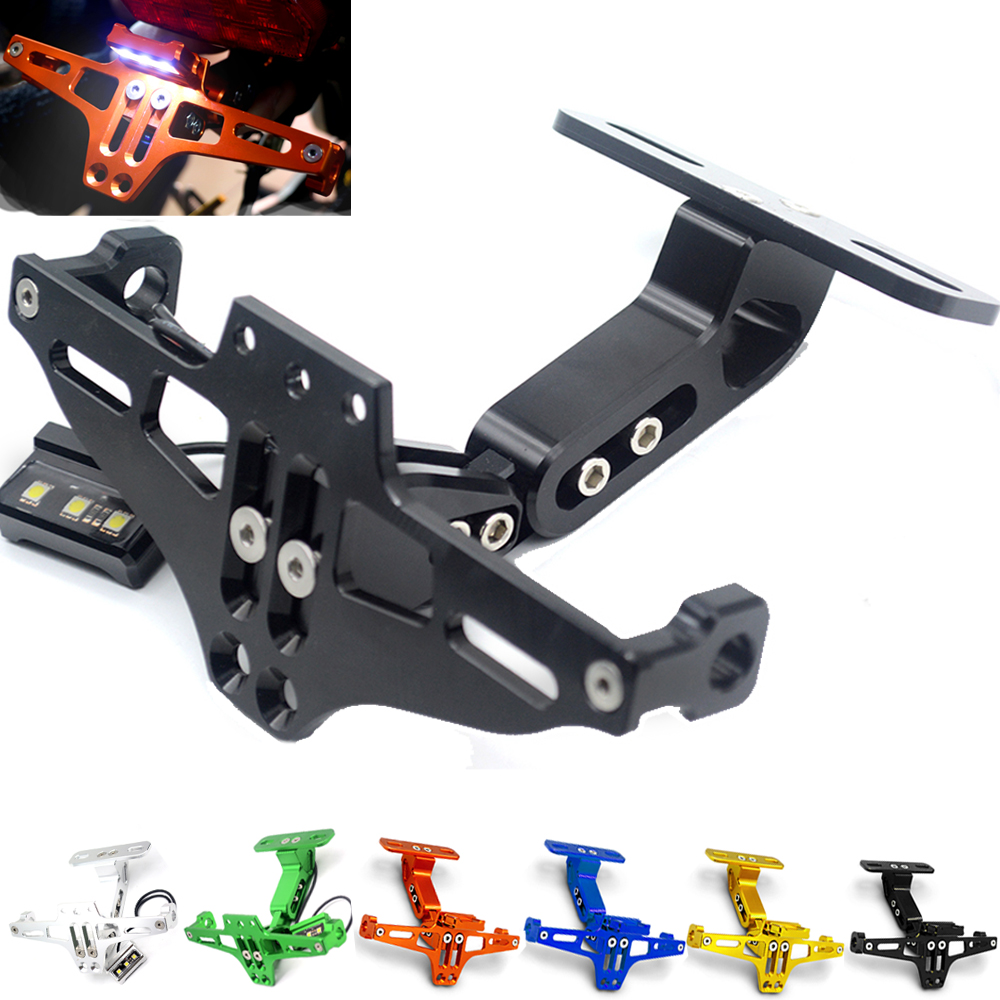 Universal Motorcycle LED light Adjustable Multi-angle Fender Eliminator License Plate Bracket Holder Tidy Tail For Sport Bike for suzuki gsxr1000 2007 2008 motorcycle licence plate bracket tail tidy rear fender eliminator billet aluminum