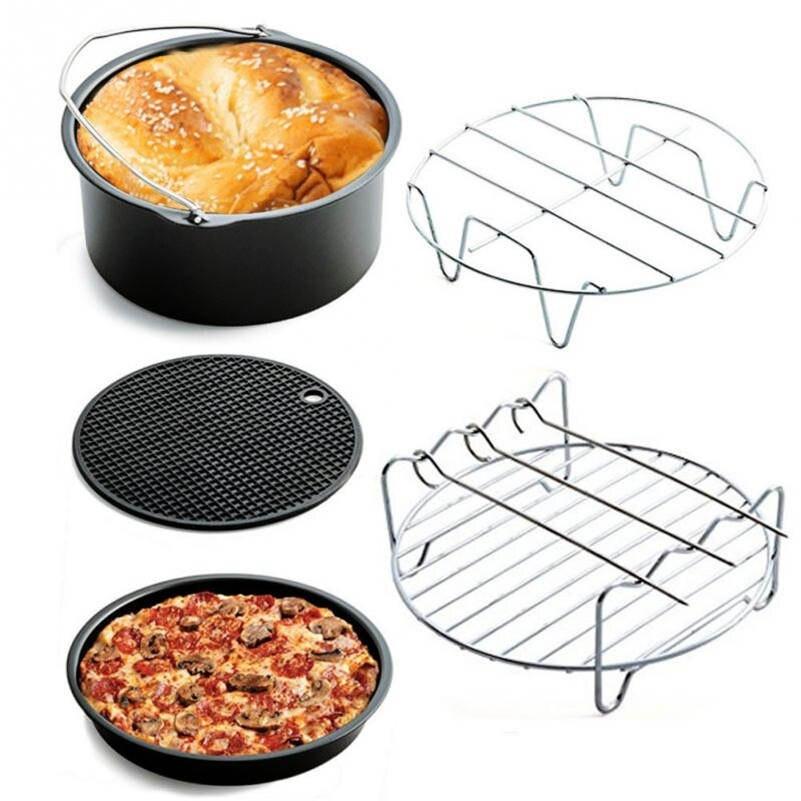5PCS Fryer Pan Mat Home Air Frying Pan Accessories Fryer Baking Basket Pizza Plate Grill Pot Mat