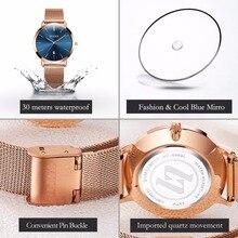 Ultra thin Ladies Watch Brand Luxury Women Watches Waterproof Rose Gold fashion uhr Stainless Steel Quartz Calendar Wrist Watch