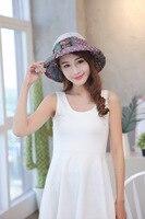 Nouveau Mode Bohême Style Haute Qualité Tissu D'été Chapeau de Soleil pour Femmes Pliage Visières Chapeaux De Plage Marque Sun Cap