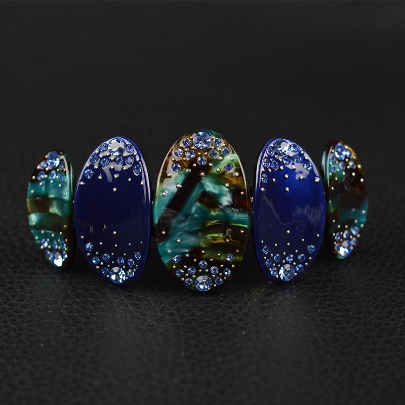 Women Hair Accessoarer 2017 Barock Rhinestone Acetate Hair Barrette Fashion Rings Hair Clip För Kvinnor