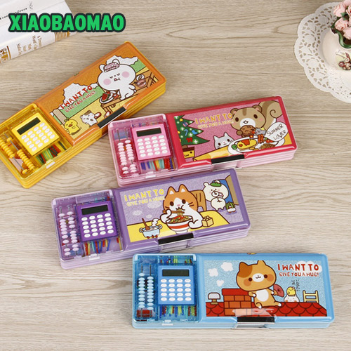 Double Open Children Multi-function Cartoon Style Pencil Box With Calculator + Calculate Beads Pencil Case Stationery Gift
