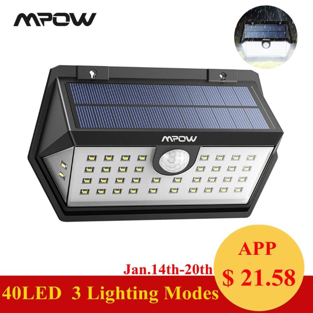 Mpow CD168 40 LED Solar Garden Light Outdoor IP65 Waterproof Brightness Adjustable Solar LED Super Wide Angle Motion Senor Lamps