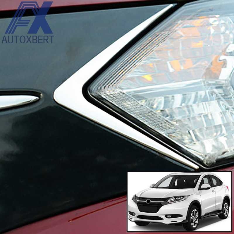 AX Chrome Koplamp Koplamp Lamp Driehoek Cover Trim Hoofd Light Bezel Frame Molding Accent Voor Honda HR-V Vezel HRV 2018 2017 2016