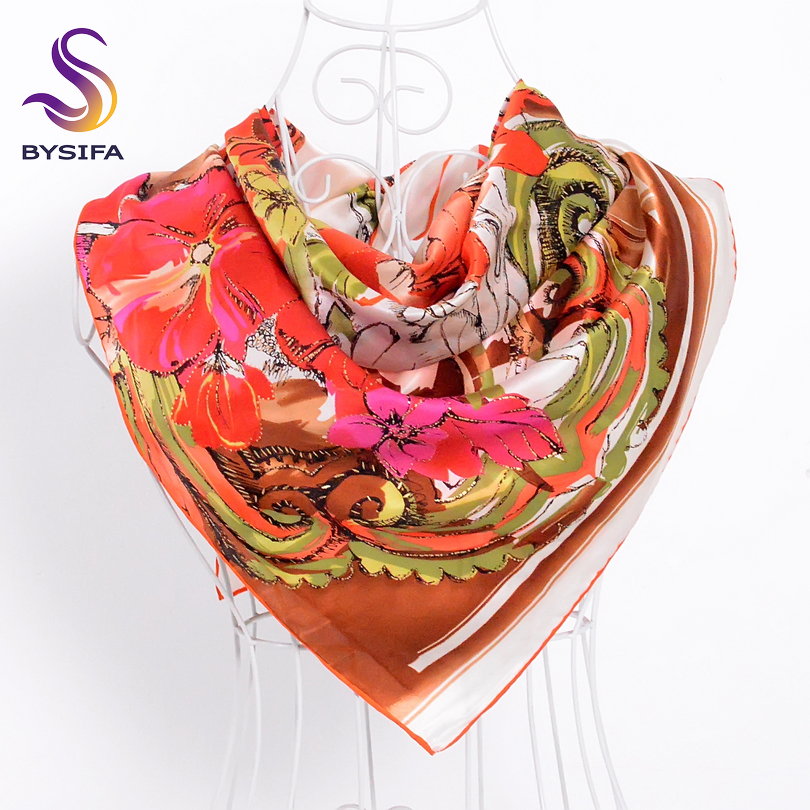 Twill Silk   Scarf   Shawl Women New Design Brand Large Square   Scarves     Wraps   For Spring Autumn 90*90cm 100% Silk Muslim Headscarves